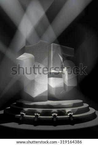 Night Anniversary Scene with FIFTEEN on pedestal - stock photo