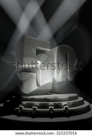 Night Anniversary Scene with FIFTY on pedestal - stock photo
