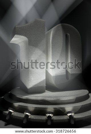 Night Anniversary Scene with TEN on pedestal - stock photo