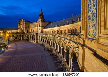 Night at famous Plaza de Espana in Sevilla, Spain - stock photo