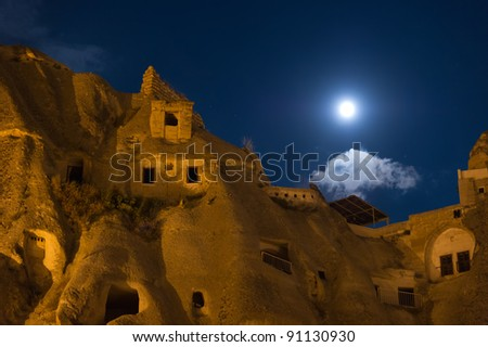 night at goreme cappadocia - stock photo