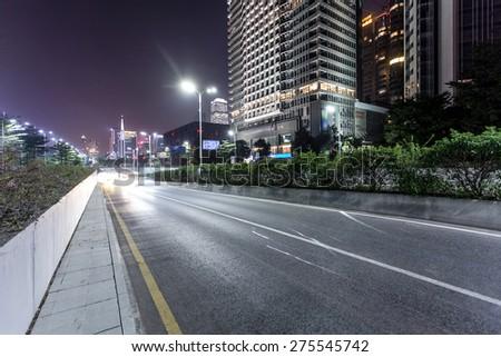 night at road - stock photo