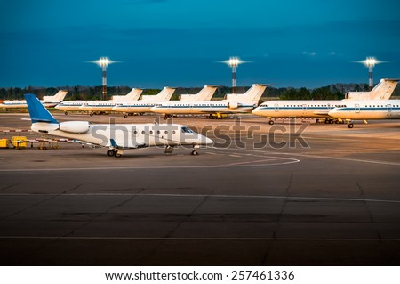 Night at the airport. - stock photo