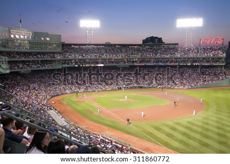 Night baseball game at historic Fenway Park, Boston Red Sox, Boston, Ma., USA, May 20, 2010, Red Sox versus Minnesota Twins, attendance, 38,144, Red Sox win 6 to 2 - stock photo