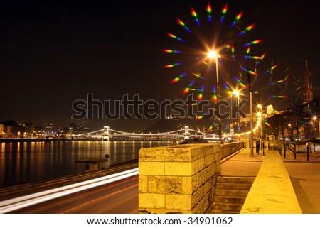 Night Budapest in spectrum view - stock photo