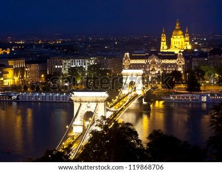 night Budapest with Danube and Chain Bridge - stock photo