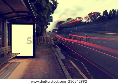 Night bus station - stock photo