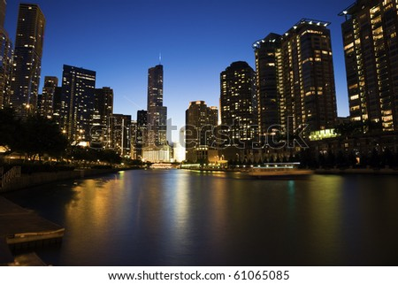 Night by the river - Chicago, IL. - stock photo