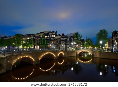 night canals of old town, Amsterdam, Holland - stock photo