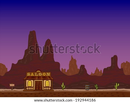 Night canyon with wild west saloon for your design. - stock photo