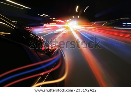 Night car and neon lights - stock photo