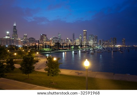 Night Chicago - stock photo
