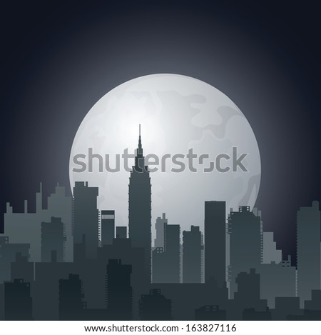 Night city against the evening sun - stock photo