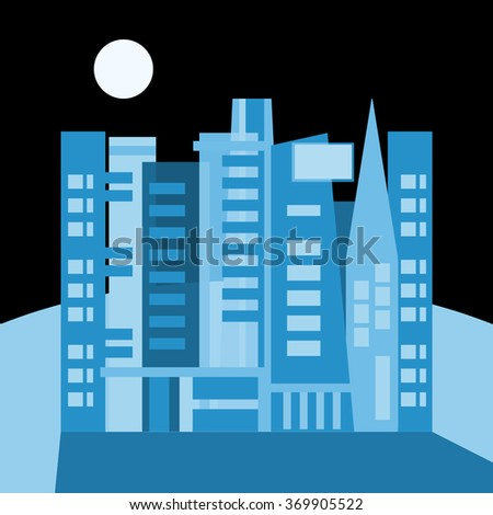 Night city and full moon - stock photo