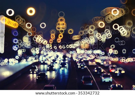 Night city background, blur background Road - stock photo