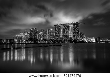 Night City black & white with reflections