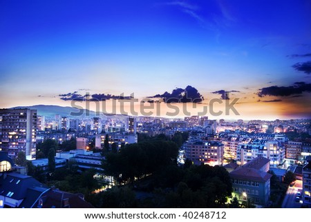 Night city landscape - stock photo