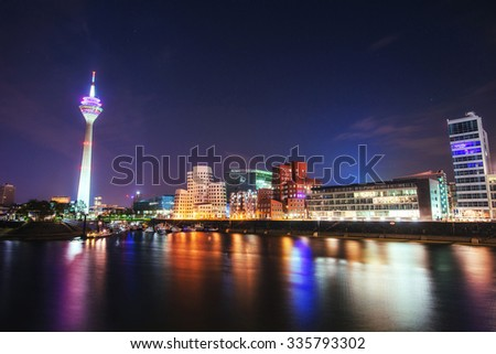 Night city landscape Dyusildorf. Media harbor. Germany. - stock photo