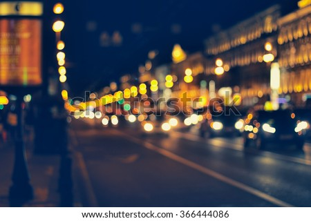 night city life: car and street lamps, retro style