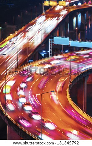 Night city roads - stock photo