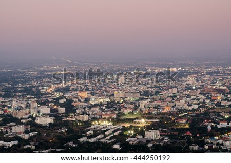 Night City Scape Top View in Chiangmai, Thailand