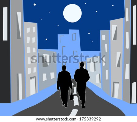 night city shined with the moon, two people go on road