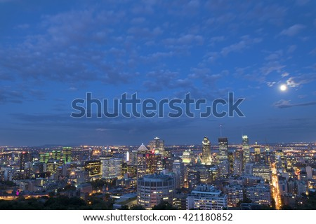 Night City View. Nightlife. Montreal. Quebec. Canada - stock photo