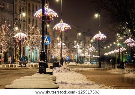 night city, Warsaw, Poland. - stock photo
