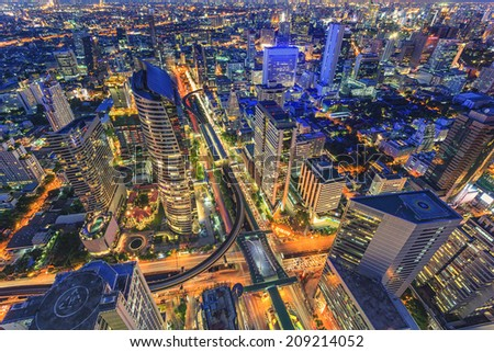 Night cityscape in center of Thailand - stock photo