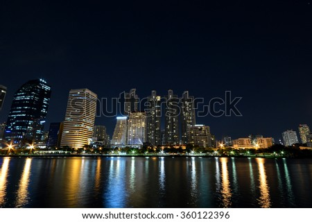 night cityscape light reflect foreground