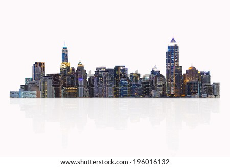 Night cityscape, modern building on a white background. - stock photo