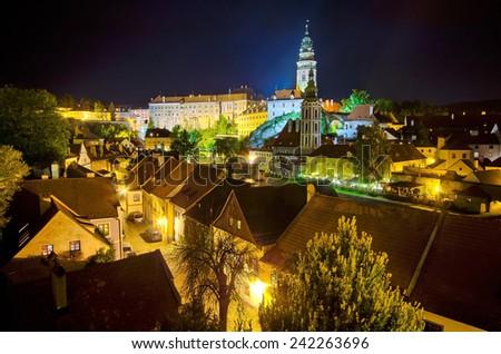 Night cityscape of Cesky Krumlov in Czech Republic - UNESCO heritage site - stock photo