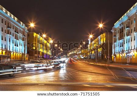 Night cityscape of Minsk, Belarus - stock photo