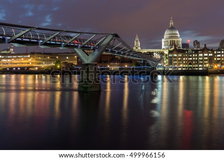 Night cityscape of St. Paul's Cathedral from Thames river, London, England, Great Britain