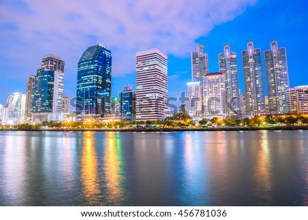 Night cityscape Suan benja kitti in Bangkok ,Thailand.