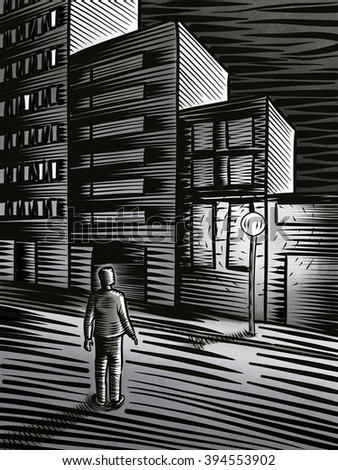 Night cityscape with a man standing on the street. Digital illustration.
