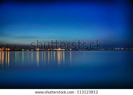 Night coastline, view from the pier of Odessa Sea Port. Ukraine. - stock photo
