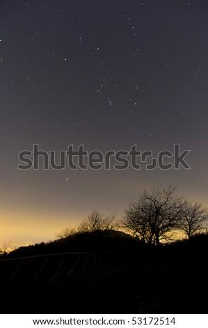 Night, constellation of Orion - stock photo