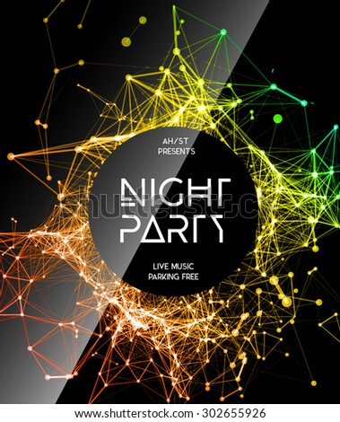 Night Disco Party Poster Background - stock photo