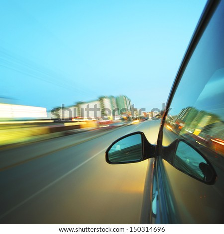 night drive blurred in motion - stock photo