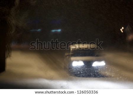 Night driving - blurred - stock photo