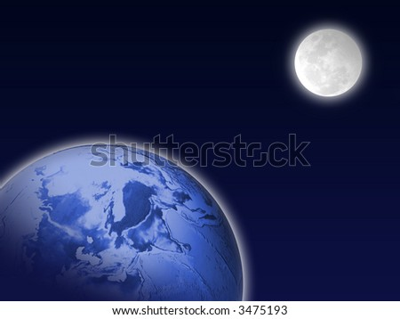 Night earth and the Moon - stock photo