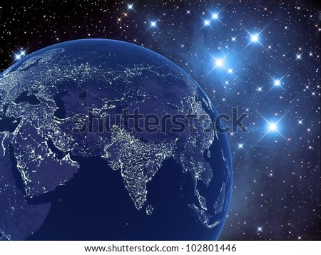 Night earth on the background of the starry sky, 3D images. Maps from NASA imagery - stock photo