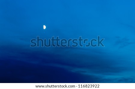 Night Evening Sky Blue Moon  - stock photo