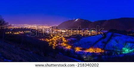 Night exposure of Brasov's old city center - stock photo
