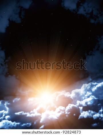 Night fairy tale - bright sun in the night sky - stock photo