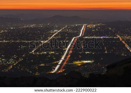 Night fall over suburban Simi Valley near Los Angeles, California. - stock photo