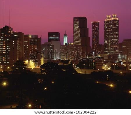Night falling on Atlanta, GA - stock photo