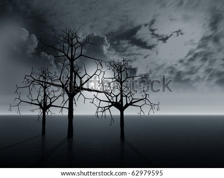 Night fantasy landscape with  trees