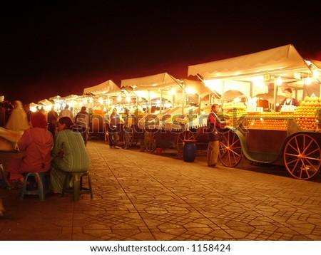 Night Food stalls – Marrakesh - stock photo